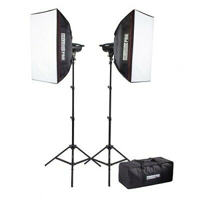 """StudioPRO Photography 200W/s Two Strobe 20""""x28"""" Softbox Kit & Carrying Case"""