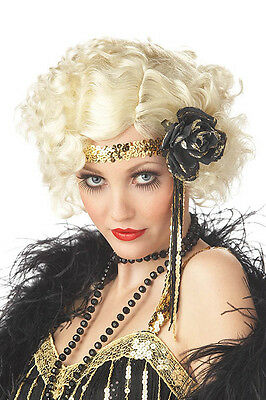 1920's Jazz Baby Curly Flapper Costume Blonde Wig Twenties 20s Fancy Dress  NEW