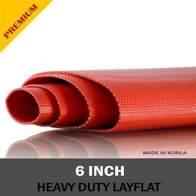 PVC Heavy Duty Red Layflat Hose 6 inch (150mm) - 100 metre roll