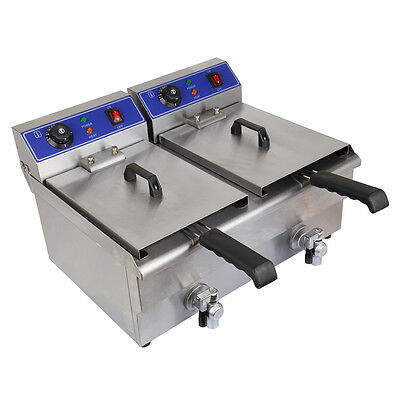 20L Commercial Deep Fryer w/Drain Fast Food Electric Fish Chicken Meat Vegetable