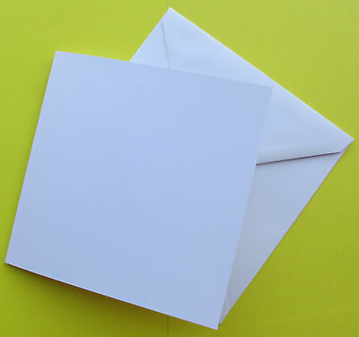 PACK OF 20 BLANK WHITE 14.4cmx14.4cm SQUARE CARDS 270GSM & ENVELOPES CARDMAKING