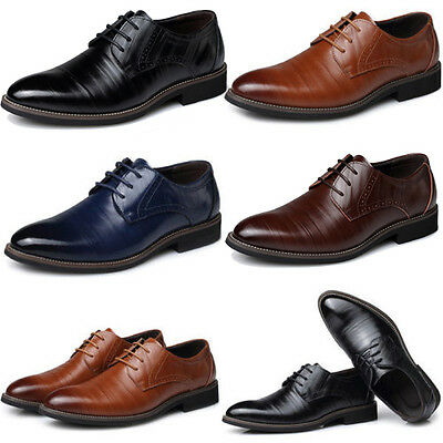 Fashion Mens Leather Pointed Lace Up Business Office Formal Dress Wedding  Shoes