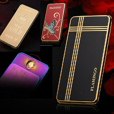 NEW 24K Gold Foil Rechargeable Battery USB Electric Windproof Flameless Lighter