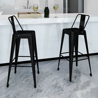 New Steel Bar Chair High Chairs Home Bar Furniture Stools Square Black 2 pcs