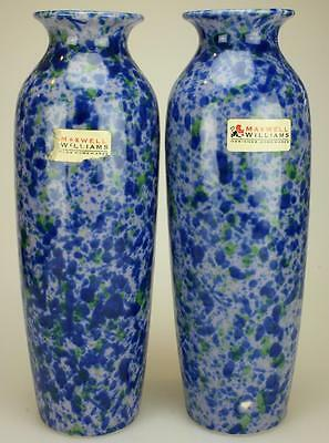 Pair of Maxwell & Williams Cylindrical Porcelain Vases Blue Mosaic Design KC62