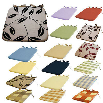 """Kitchen Seat Pads, Chair Pads - Plain, bay leaf, checked, 36x36cm/15x15"""" filled"""