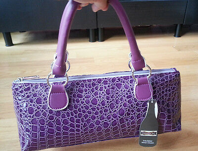 Insulated Wine Clutch Hand Bag Purple with Corkscrew Carrier