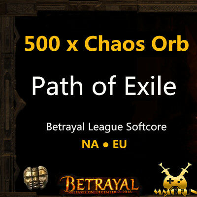 Path of Exile PoE Currency 1000 x Chaos Orb Incursion League Softcore SC EU/ NA