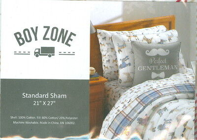 Boy Zone Quilted Plaid & DOGS Standard Pillow Sham NIP