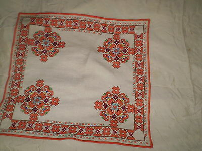 Beautiful  vintage hand-embroidered tablecloth  100% Cotton  White