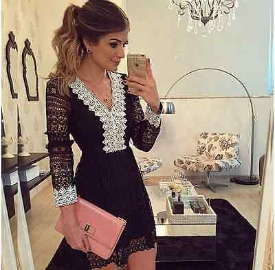 UK Womens Party Bodycon Dress Ladies Evening Lace Cocktail Dress Size 6 - 14