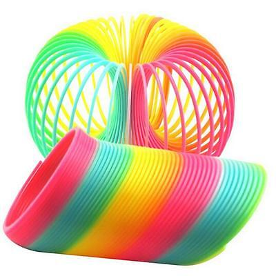 "Colorful Rainbow Plastic Magic Spring Glow-in-dark Slinky Childrens Toy 3.5"" N"