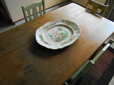 HUGE ANTIQUE BOOTHS CHINESE TREE ROYAL SEMI PORCELAIN WALL PLATTER c1880