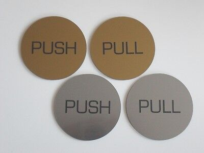Engraved Round Push or Pull Door Sign Brushed Metal Effect Office Restaurant Bar