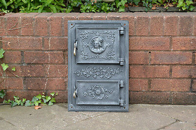31.3 x 47 cm old cast iron fire / bread oven door/doors /flue/clay/range/pizza