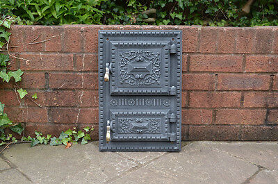 31.5 x 47 cm old cast iron fire fireplace bread oven door doors clay range pizza