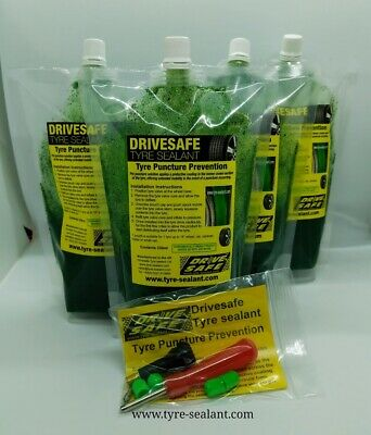 Tyre sealant car pack, tyre puncture prevention,4 pouches