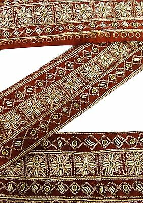 Weinlese-Sari Border Antique Decor Hand Beaded Trim Indian Band 1YD orange Spitz