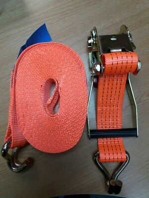 2 x 5000Kg (5 Tonne) 10M x 50mm Ratchet Lashing Tie Down Straps with Claw Hooks