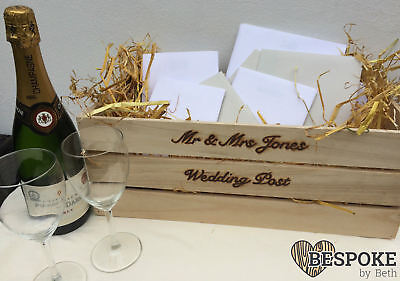 Personalised Wooden Crate Wedding Cards Post Box With Straw Rustic Love Natural