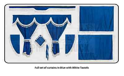TRUCK CURTAINS VOLVO Blue Full set of lined curtains (classic tassels)