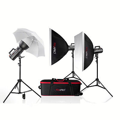PIXAPRO® 600Ws Fan Cooled Digital Display Three Head Kit With Trigger & Receiver