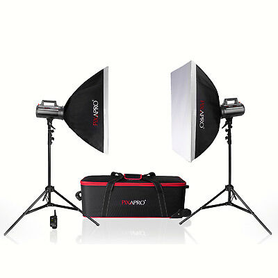 PIXAPRO® 400Ws Studio Digital Display Twin Softbox Kit With Trigger & Receiver