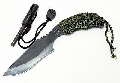 "Hunting 7"" FULL TANG Tactical Survival Knife with Carbon Steel Fire Starter Kit"