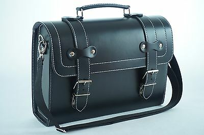 Leather Top Case Shoulder Laptop Messenger Bag Briefcase Vespa Vintage Black