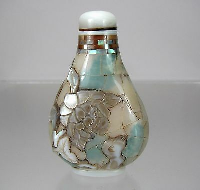 Rare Chinese Inlaid Jadeite And Mother Of Pearl Overlay Snuff Bottle