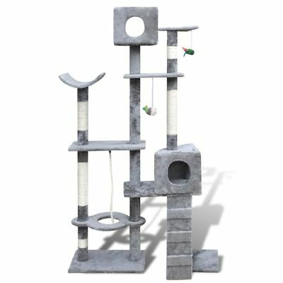 New Cat Tree Cat Scratching Post Toy Activity Cat Play House 175cm 2 Condos Grey