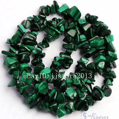 6-8mm Natural Malachite Freeform Gravel DIY Gemstone Loose Beads Strand 16""