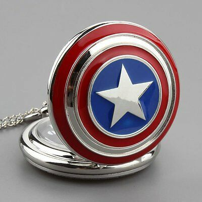 Super Cool Captain America Necklace Quartz Pocket Watch Lucky Red&Blue Star Gift