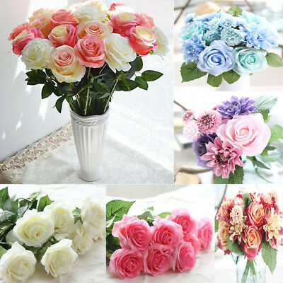 Rose Artificial Fake Flower Home Wedding Party Hydrangea Decor Bridal Bouquet