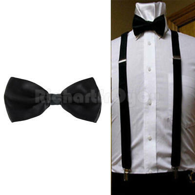 Adjustable Suspender and Bow Tie Sets for Tuxedo Wedding Suit Unisex