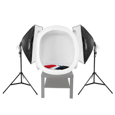 PIXAPRO EzyLite Twin Softbox Kit (2x105W) & 75cm Cube Tent Product Photography