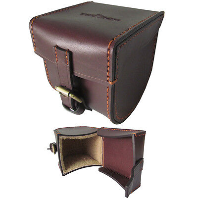 Tourbon Fly Fishing Reel Case Spin Cover Real Leather Handmade Hard Side Padded