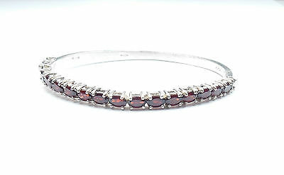 Vintage Stamped 925 Sterling Silver GARNET BANGLE BRACELET 19.7g