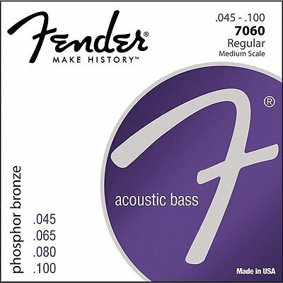 Fender 7060 Phosphor Bronze Regular Medium Acoustic Bass Guitar Strings 45-100