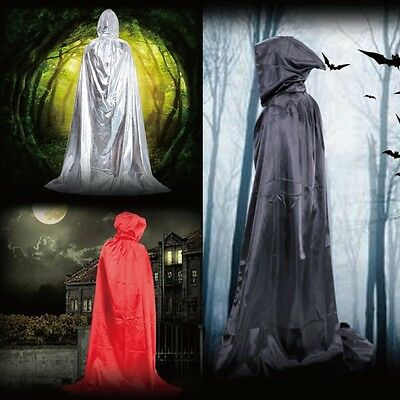 Hooded Long Cloak Cape Grim Reaper Robe Priest Witch Wicca Fancy Dress Costume