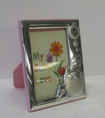 ITALIAN 925 SILVER PINK BABY CHICK EGG CLOCK 2.75 x 4 PICTURE FRAME TNY2003R-1