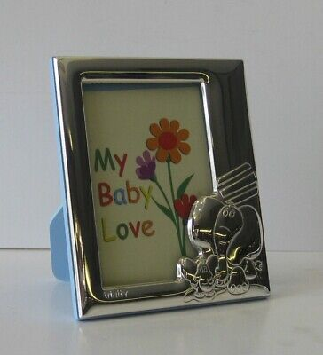 ITALIAN 925 SILVER HAND WROUGHT BABY ELEPHANT BLUE KIDS 4 x 5 PICTURE FRAME