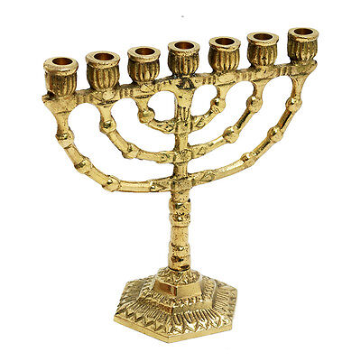 "Authentic brass copper 5"" Menorah vintage candle holder Judaica Israel gift"