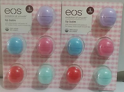 10 x Authentic EOS Smooth Sphere Organic Lip Balm 100% Natural Value Pack NEW