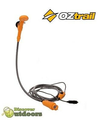 NEW OZtrail 12 Volt Hi Flow Shower with Hose FOR CAMPING Hiking +  5 Metre Cor