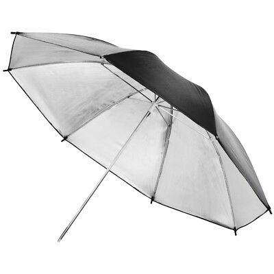 "PIXAPRO® 40"" Studio Flash Strobe Black & Silver Brolly Umbrella 101cm"