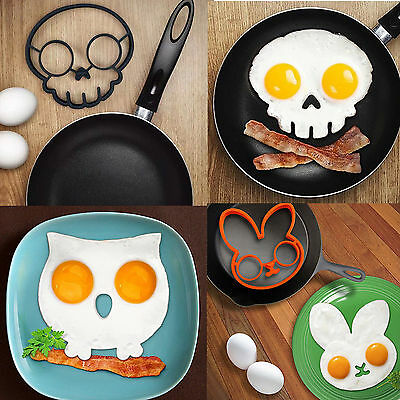 Cute Silicone Egg Fried Mould Shaper Ring Kitchen Funny Cooking Tool 5 Style EA