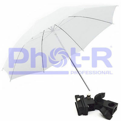 "Phot-R 43"" White Studio Umbrella+Swivel Hotshoe Flash Light Stand Holder Bracket"