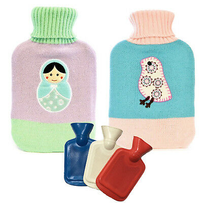 Hot Water Bottles 2 Ltr. PRIMA Relax Rubber Warmer Fleece Cover Therapy Relief