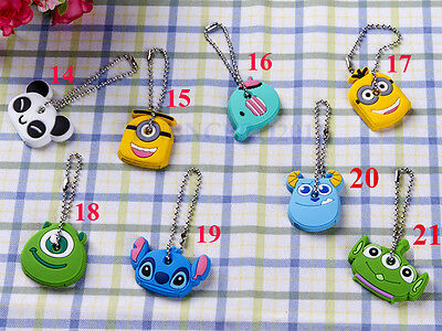 10x Cartoon cute rubber Key Chain Keychain Ring Keyfob Metal Keyrings cover case